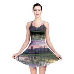 Tamblingan Morning Reflection Tamblingan Lake Bali  Indonesia Reversible Skater Dress
