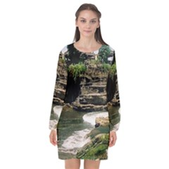 Tanah Lot Bali Indonesia Long Sleeve Chiffon Shift Dress  by Nexatart