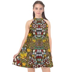 Fantasy Forest And Fantasy Plumeria In Peace Halter Neckline Chiffon Dress  by pepitasart