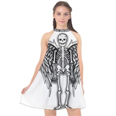 Angel Skeleton Halter Neckline Chiffon Dress  by Valentinaart