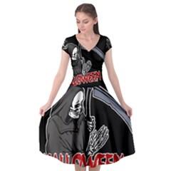 Death   Halloween Cap Sleeve Wrap Front Dress by Valentinaart