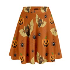 Bat, Pumpkin And Spider Pattern High Waist Skirt by Valentinaart