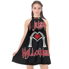 I Just Love Halloween Halter Neckline Chiffon Dress  by Valentinaart
