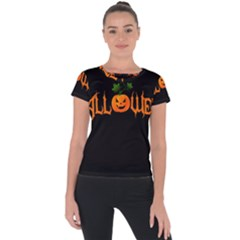 Halloween Short Sleeve Sports Top  by Valentinaart