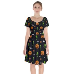 Pumpkins   Halloween Pattern Short Sleeve Bardot Dress by Valentinaart