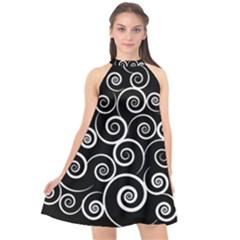 Abstract Spiral Christmas Tree Halter Neckline Chiffon Dress