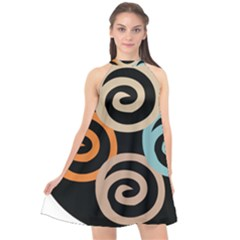 Abroad Spines Circle Halter Neckline Chiffon Dress  by Mariart