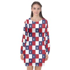 American Flag Star White Red Blue Long Sleeve Chiffon Shift Dress  by Mariart
