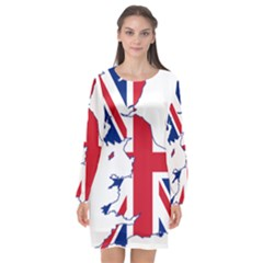 Britain Flag England Nations Long Sleeve Chiffon Shift Dress  by Mariart