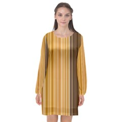 Brown Verticals Lines Stripes Colorful Long Sleeve Chiffon Shift Dress