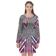 Alternatively Mega British America Dragon Illustration Long Sleeve Chiffon Shift Dress  by Mariart