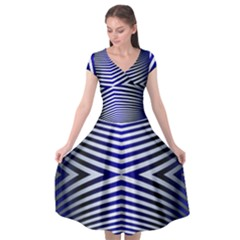 Blue Lines Iterative Art Wave Chevron Cap Sleeve Wrap Front Dress by Mariart