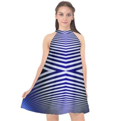 Blue Lines Iterative Art Wave Chevron Halter Neckline Chiffon Dress  by Mariart