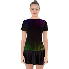Colorful Light Ray Border Animation Loop Rainbow Motion Background Space Drop Hem Mini Chiffon Dress