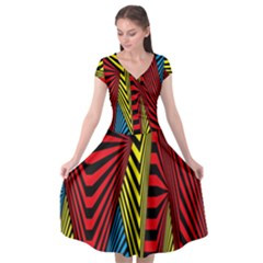Door Pattern Line Abstract Illustration Waves Wave Chevron Red Blue Yellow Black Cap Sleeve Wrap Front Dress