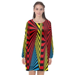 Door Pattern Line Abstract Illustration Waves Wave Chevron Red Blue Yellow Black Long Sleeve Chiffon Shift Dress  by Mariart