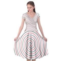 Double Line Spiral Spines Red Black Circle Cap Sleeve Wrap Front Dress by Mariart