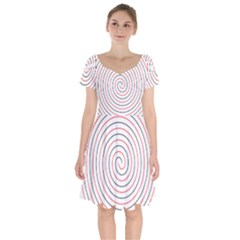 Double Line Spiral Spines Red Black Circle Short Sleeve Bardot Dress