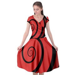 Double Spiral Thick Lines Black Red Cap Sleeve Wrap Front Dress by Mariart