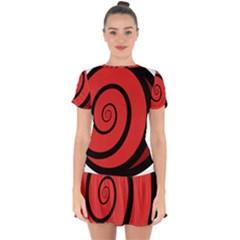 Double Spiral Thick Lines Black Red Drop Hem Mini Chiffon Dress by Mariart