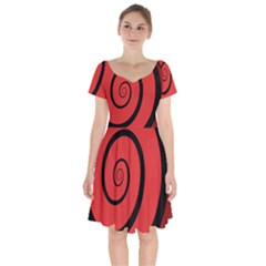Double Spiral Thick Lines Black Red Short Sleeve Bardot Dress