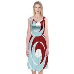 Double Spiral Thick Lines Blue Red Midi Sleeveless Dress