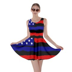 Flag American Line Star Red Blue White Black Beauty Skater Dress
