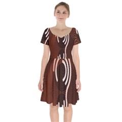 Fan Line Chevron Wave Brown Short Sleeve Bardot Dress by Mariart