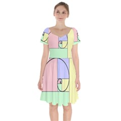 Golden Spiral Logarithmic Color Short Sleeve Bardot Dress