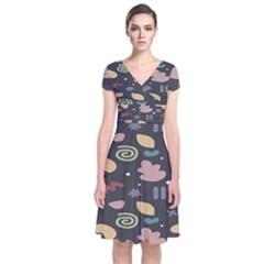 Funky Pattern Polka Wave Chevron Monster Short Sleeve Front Wrap Dress
