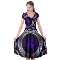 Digital Celtic Clock Template Time Number Purple Cap Sleeve Wrap Front Dress by Mariart