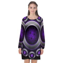 Digital Celtic Clock Template Time Number Purple Long Sleeve Chiffon Shift Dress  by Mariart