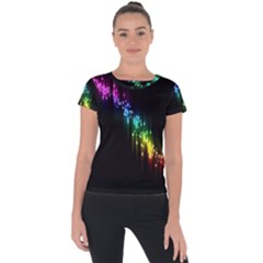 Illustration Light Space Rainbow Short Sleeve Sports Top  by Mariart