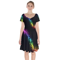 Illustration Light Space Rainbow Short Sleeve Bardot Dress by Mariart