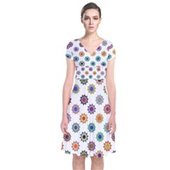 Flowers Pattern Recolor Artwork Sunflower Rainbow Beauty Short Sleeve Front Wrap Dress by Mariart