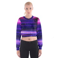 Massive Flare Lines Horizon Glow Particles Animation Background Space Cropped Sweatshirt by Mariart