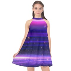 Massive Flare Lines Horizon Glow Particles Animation Background Space Halter Neckline Chiffon Dress  by Mariart