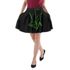 Origami Light Bird Neon Green Black A Line Pocket Skirt by Mariart