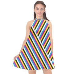 Lines Chevron Yellow Pink Blue Black White Cute Halter Neckline Chiffon Dress