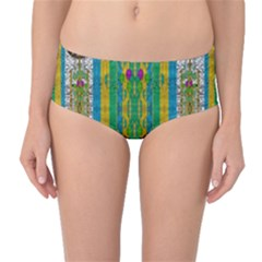 Rainbows Rain In The Golden Mangrove Forest Mid Waist Bikini Bottoms by pepitasart