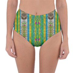 Rainbows Rain In The Golden Mangrove Forest Reversible High Waist Bikini Bottoms by pepitasart