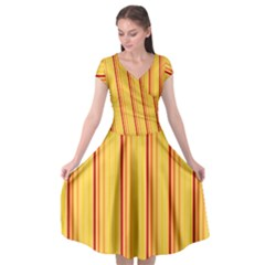 Red Orange Lines Back Yellow Cap Sleeve Wrap Front Dress