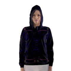 Psychic Color Circle Abstract Dark Rainbow Pattern Wallpaper Hooded Wind Breaker (women)