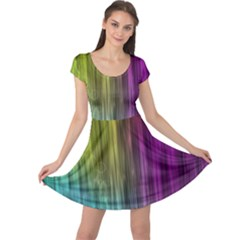 Rainbow Bubble Curtains Motion Background Space Cap Sleeve Dress by Mariart