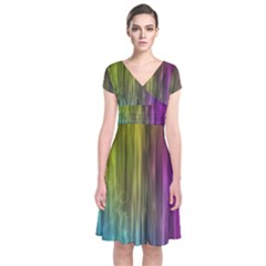 Rainbow Bubble Curtains Motion Background Space Short Sleeve Front Wrap Dress by Mariart