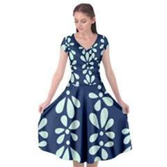 Star Flower Floral Blue Beauty Polka Cap Sleeve Wrap Front Dress by Mariart