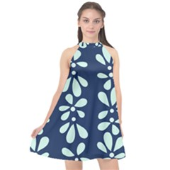 Star Flower Floral Blue Beauty Polka Halter Neckline Chiffon Dress