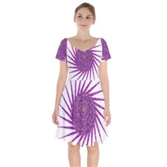 Spiral Purple Star Polka Short Sleeve Bardot Dress