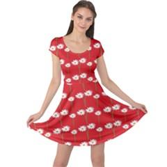 Sunflower Red Star Beauty Flower Floral Cap Sleeve Dress