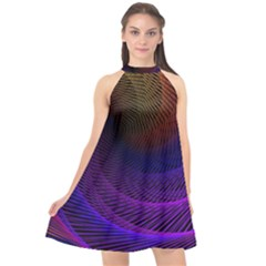 Striped Abstract Wave Background Structural Colorful Texture Line Light Wave Waves Chevron Halter Neckline Chiffon Dress